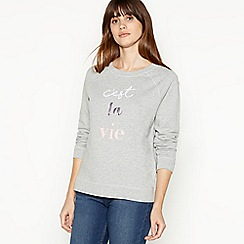 Principles - Grey Embroidered 'C'est la Vie' Sweatshirt