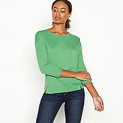 Principles - Green Boxy Split Front Cotton T-shirt