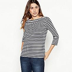 Principles - Navy cotton breton stripe top