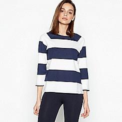 Principles - Navy Stripe Print Cotton T-Shirt