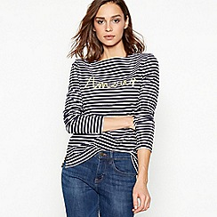 Principles - Navy Stripe Print 'Amour' Applique Cotton Top