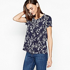 Principles - Navy Floral Print Cotton T-Shirt