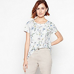 Principles - White Floral Print Cotton T-Shirt