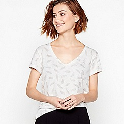 Principles - Ivory Feather Print Cotton T-Shirt