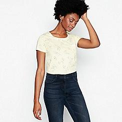 Principles - Yellow Bird Print Cotton T-Shirt