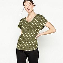 Principles - Khaki Tile Print Broderie Anglaise T-Shirt