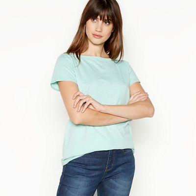 057030415340: Light Turquoise Cotton T-Shirt