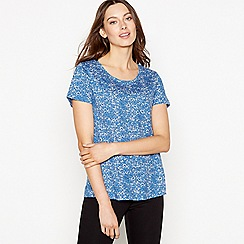 Principles - Blue Floral Print Cotton 'Saffron' Top
