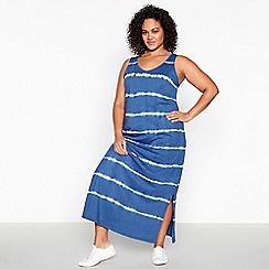 Principles - Navy Tie Dye Cotton Plus Size Maxi Dress
