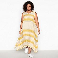 Principles - Yellow Geometric Print Plus Size Midi Dress