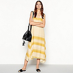 Principles - Yellow geometric print midi dress