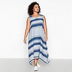 Principles - Blue Geometric Print Plus Size Midi Dress