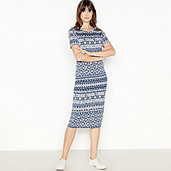The Collection - Navy Tile Print Jersey Midi Dress