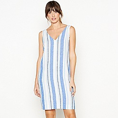 Principles - Blue Stripe Print Knee Length Linen Dress