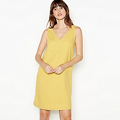 Principles - Yellow Linen Blend Knee Length Dress