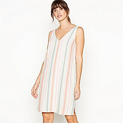 Principles - Orange Stripe Print Knee Length Linen Dress