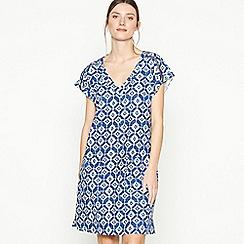 Principles - Blue Tile Print Knee Length Dress