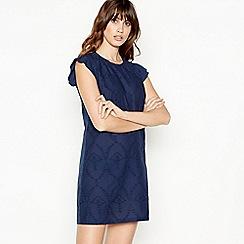 Principles - Navy Broderie Cotton Mini Shift Dress