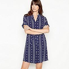 Principles - Blue Tile Print mini Length Shirt Dress