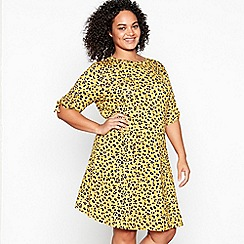 Principles - Yellow Leopard Print Jersey Knee Length Plus Size Dress