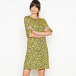 Principles - Yellow Leopard Print Jersey Mini Dress