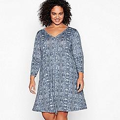 Principles - Grey Snake Print Jersey Knee Length Plus Size Wrap Dress