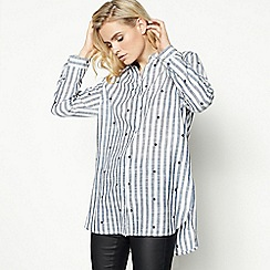 27888df34ec17 Principles - Blue Stripe Print Embroidered Shirt