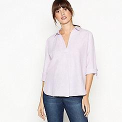 Principles - Mauve Stripe Linen Blend Shirt