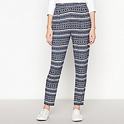 The Collection - Navy Boho Print Jersey Trousers