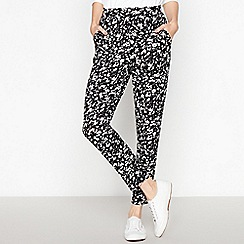 The Collection - Black Animal Print Jersey Trousers