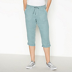 Principles - Aqua Linen Cropped Trousers
