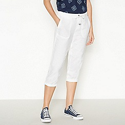 Principles - White Linen Cropped Trousers