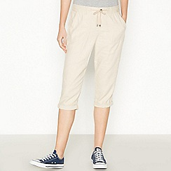 Principles - Natural Linen Blend Cropped Trousers