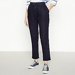 Principles - Navy Linen Cropped Trousers