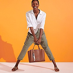 Principles - Khaki Linen Cropped Trousers