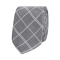 Red Herring - Grey checked slim tie with tie clip