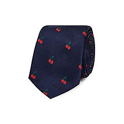 Red Herring - Navy cherry print slim tie