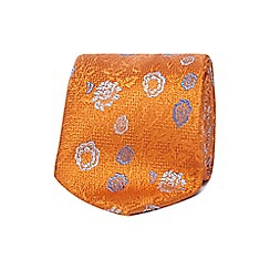 The Collection - Orange silk floral print tie