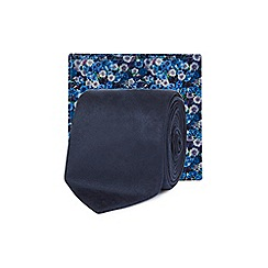 Red Herring - Blue skinny tie and floral pocket square