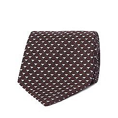 J by Jasper Conran - Dark red geometric print silk blend slim tie