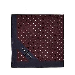 J by Jasper Conran - Wine red geometric print pocket square with silk