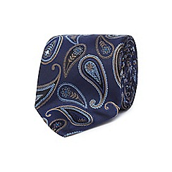 Jeff Banks - Navy paisley print silk tie
