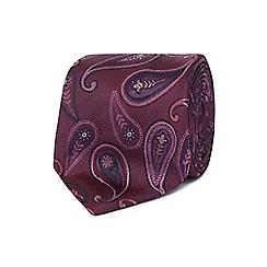 Jeff Banks - Purple paisley print silk tie