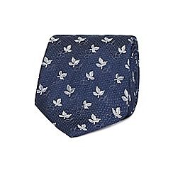 Jeff Banks - Navy jacquard leaf silk tie