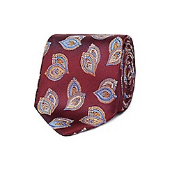 Jeff Banks - Wine red patterned silk tie