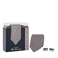 Ben Sherman - Multi-coloured silk dogtooth tie and cufflinks set