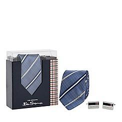 Ben Sherman - Navy silk striped tie and cufflinks set