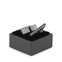 The Collection - Silver textured stripe cufflinks and tie bar