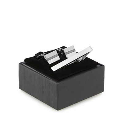 The Collection   Silver Stripe Cufflinks And Tie Bar by The Collection