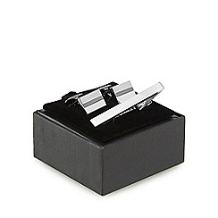 The Collection - Silver stripe cufflinks and tie bar